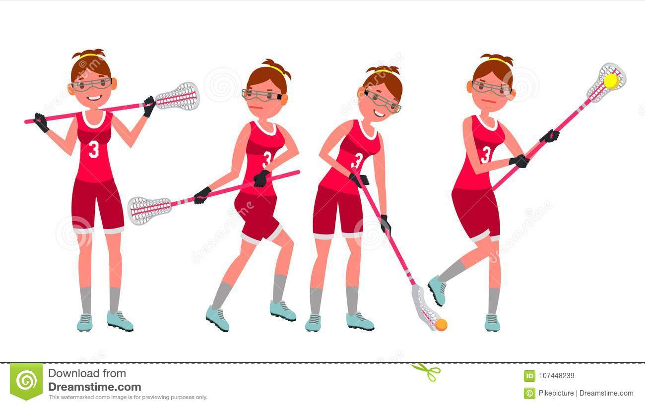 hight resolution of female lacrosse player vector profesional sport holding lacrosse stick girl s lacrosse player