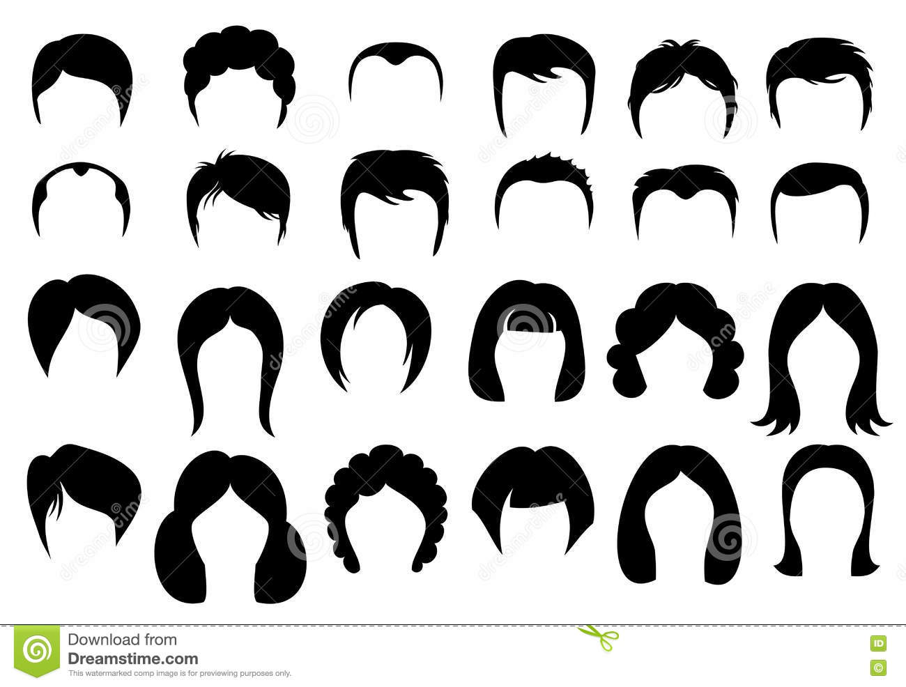 Female And Male Hair Vector Hairstyle Silhouette Icons