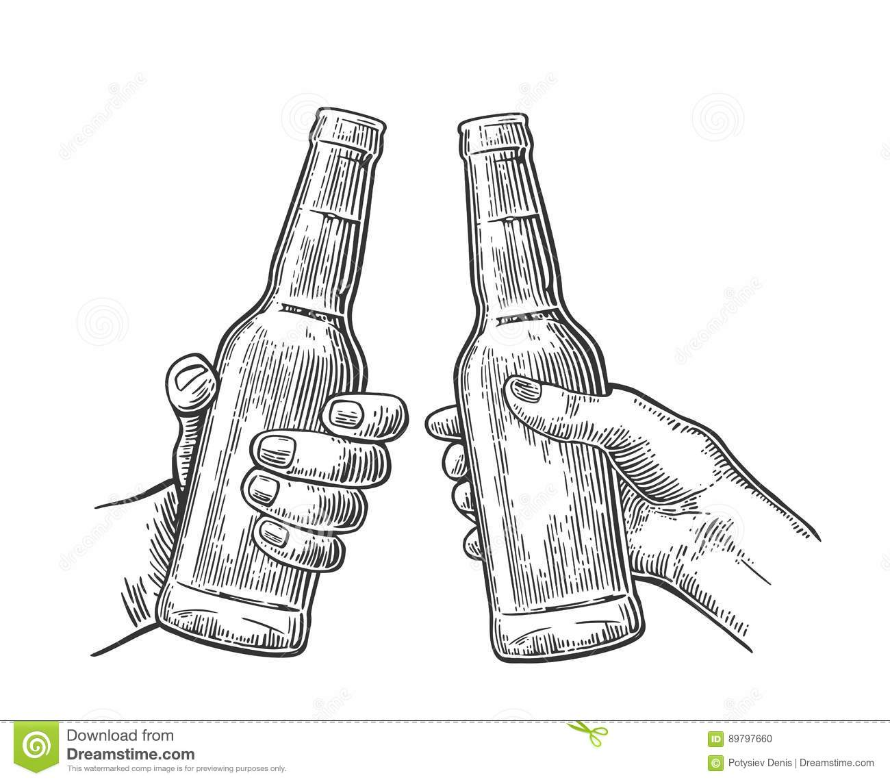 Female And Male Hands Holding And Clinking Open Beer