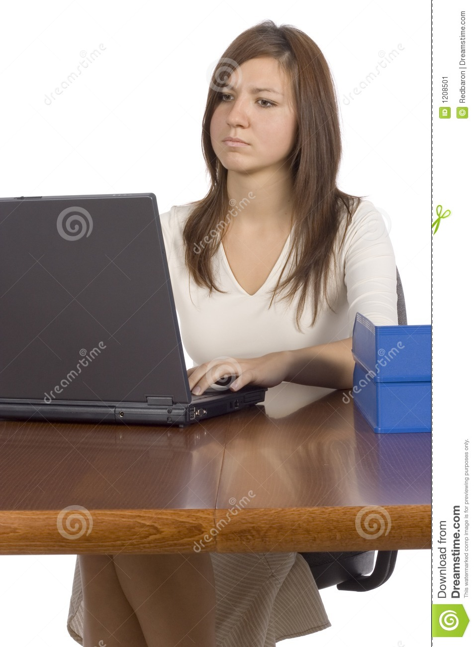 Female Office Worker Working Computer Stock Image  Image