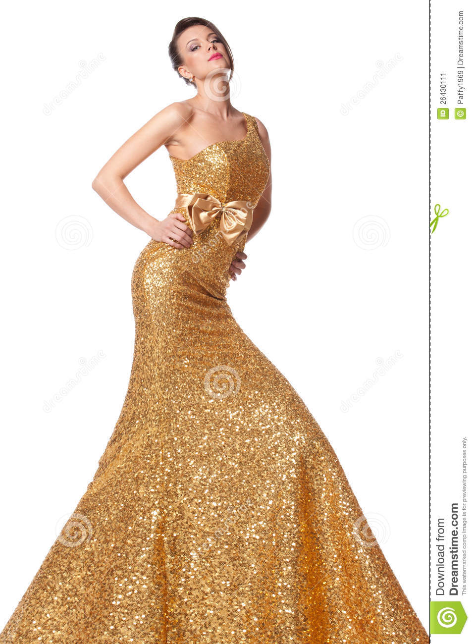 Female Posing In Long Golden Dress Stock Image Image