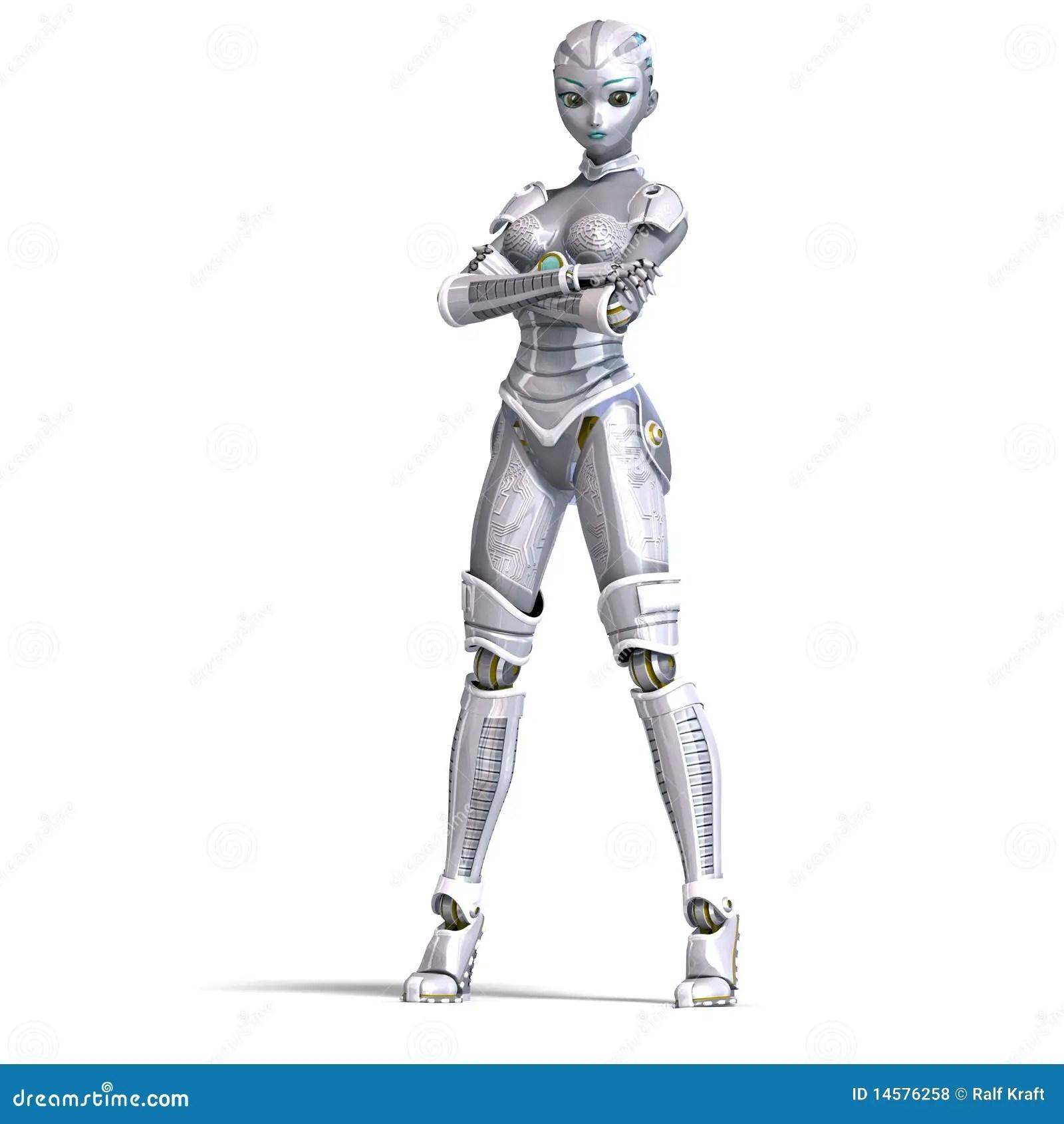 Female Metallic Robot 3d Rendering With Stock