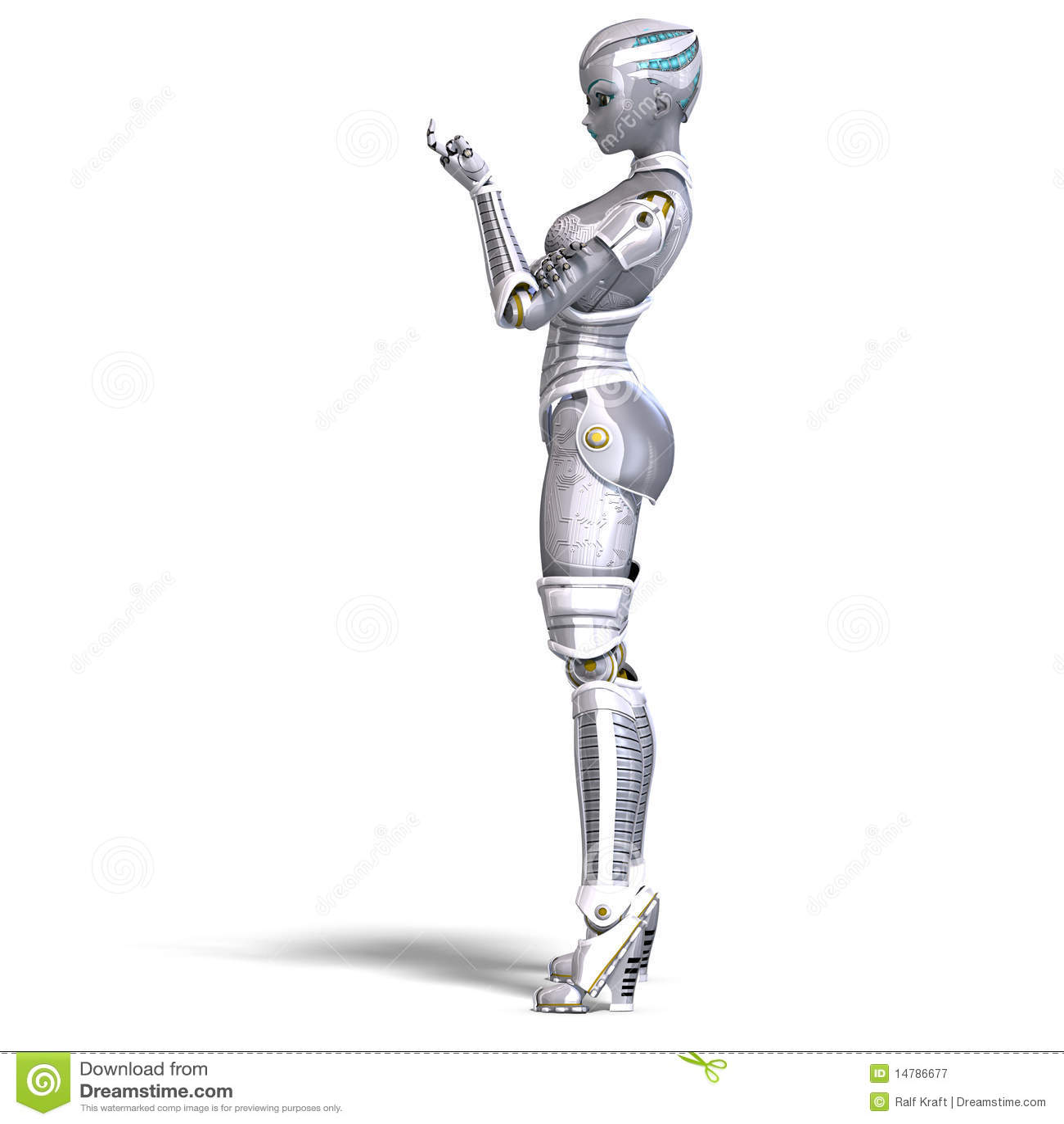 Female Metallic Robot. 3D Rendering With Stock