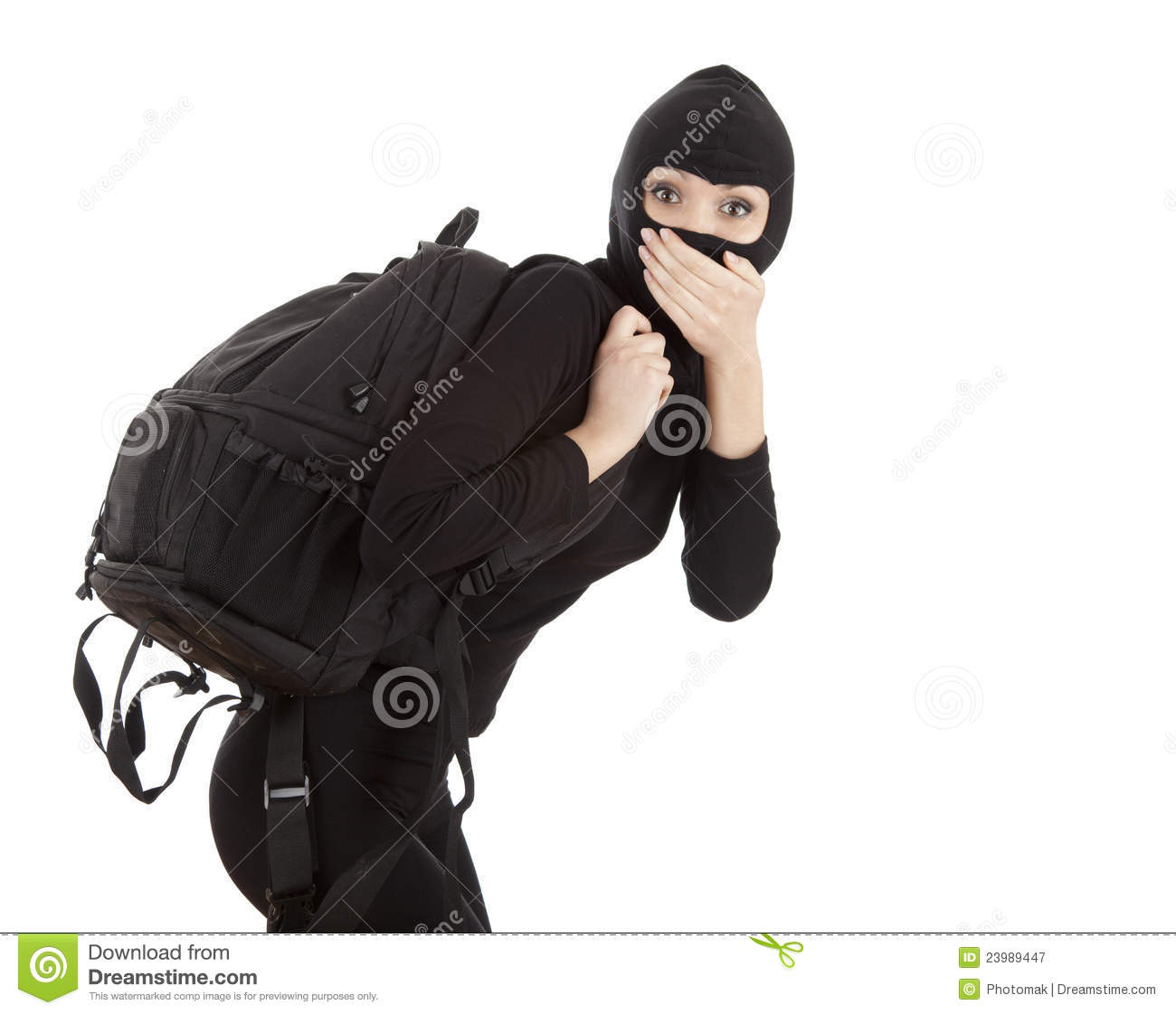 Danger Girl Wallpapers Free Female Thief With Stolen Rucksack Stock Image Image Of