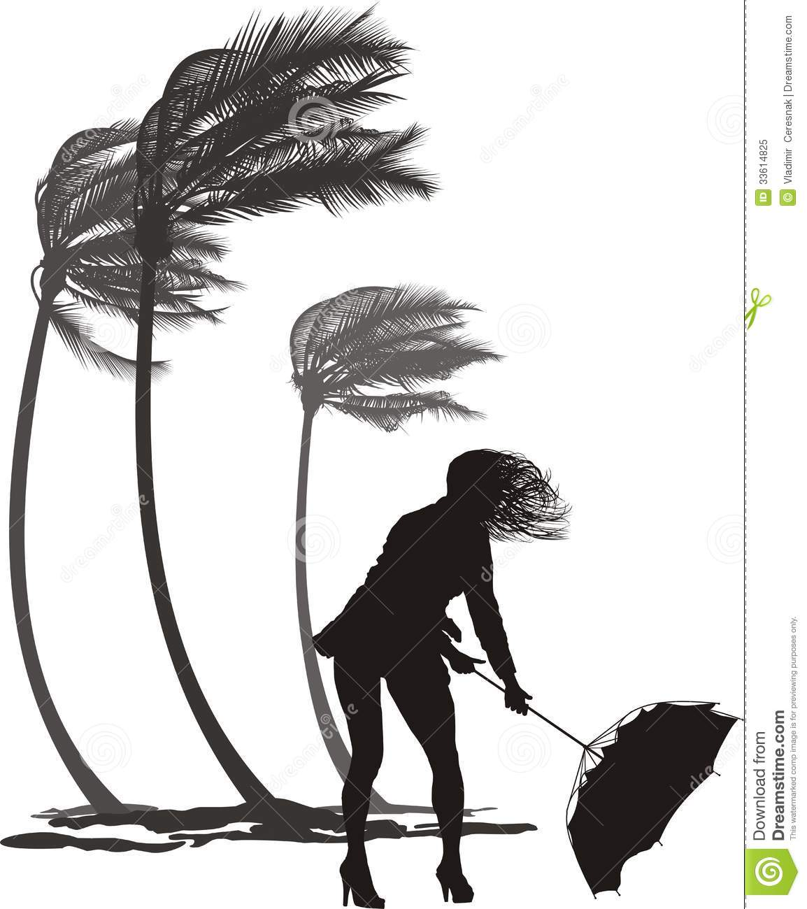 Female In The Wind And Trees Palms Stock Vector