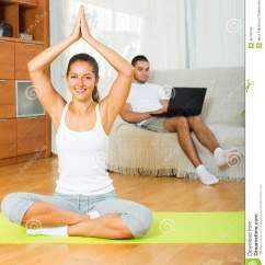 Yoga Sofa Can I Donate A To Goodwill Female In Position And Lazy Guy On Stock Photo