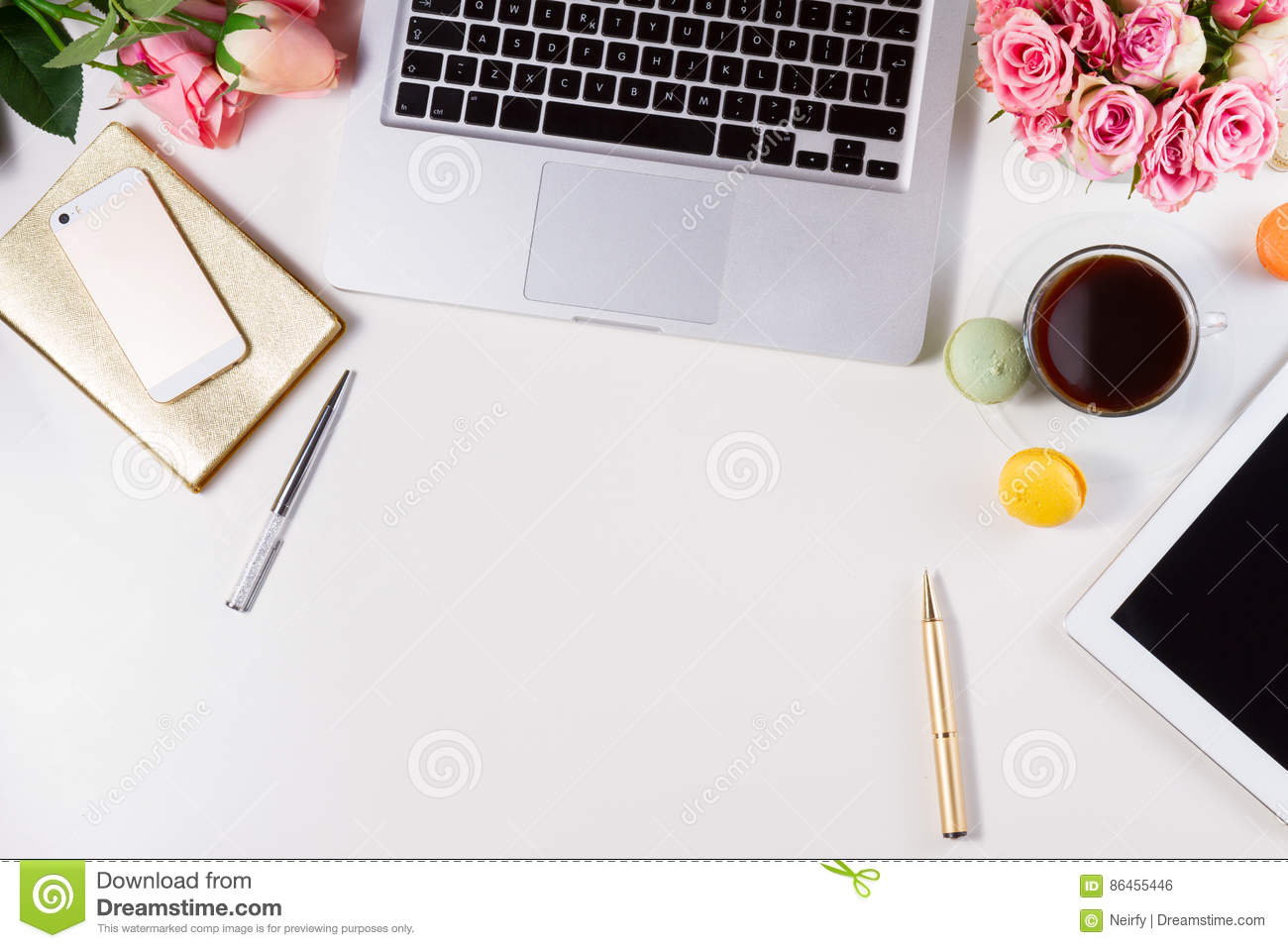 Feminine Workspace Top View Stock Photo  Image of