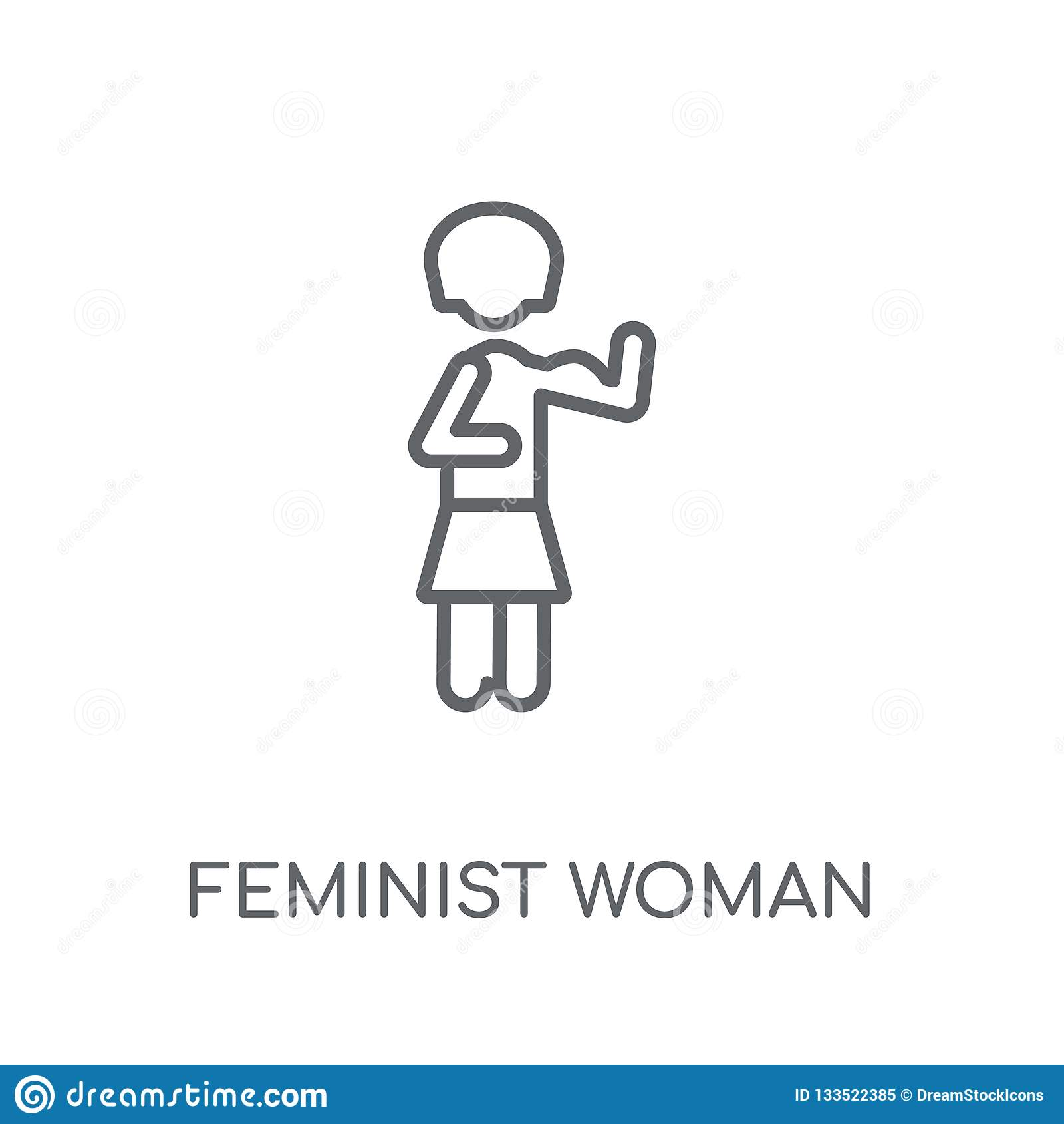 feminist woman linear icon
