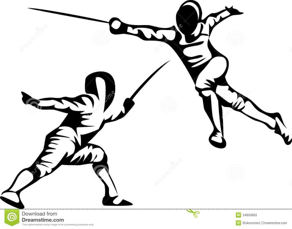 medium resolution of stylized fencing sport black and white illustration