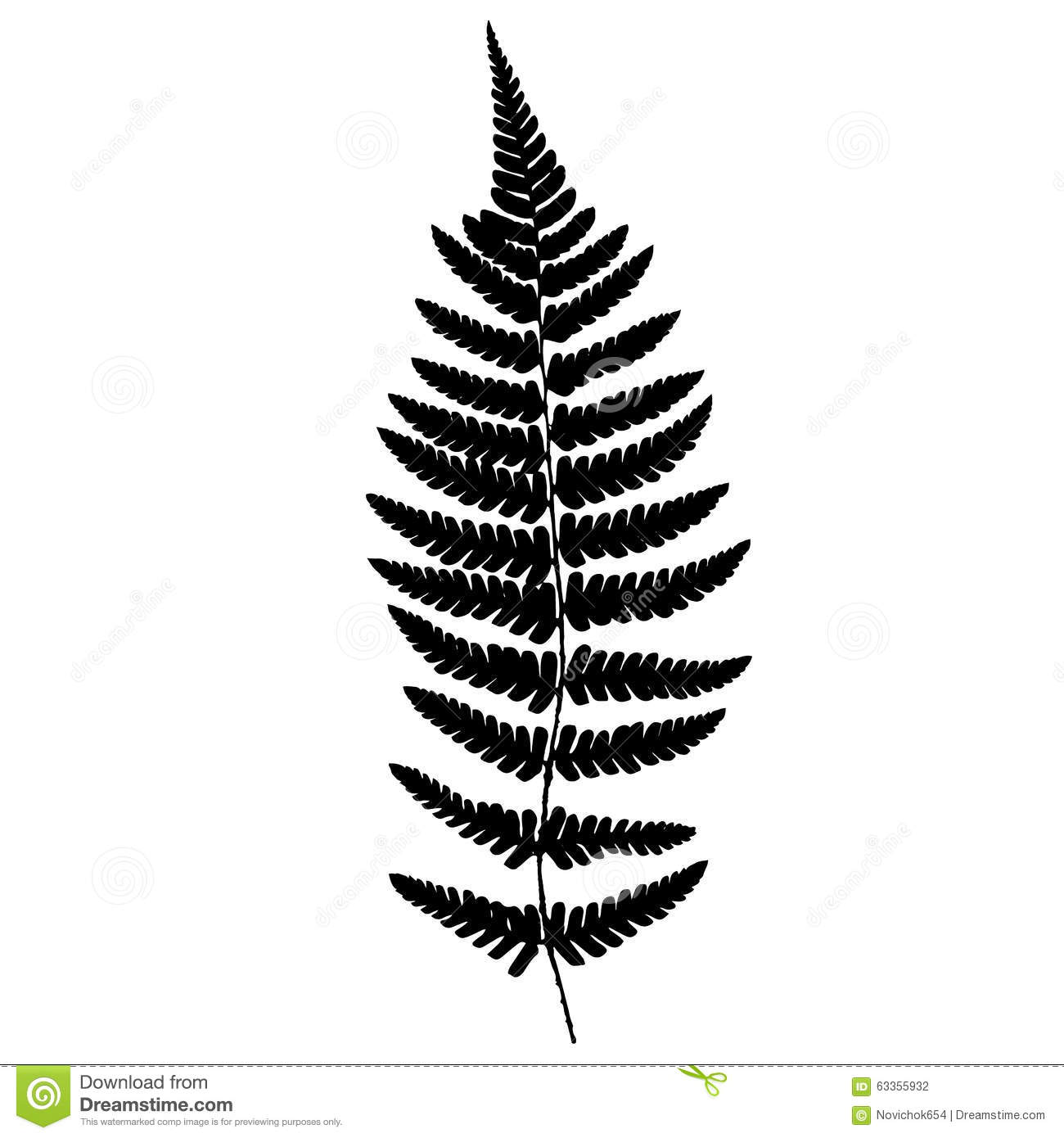 Fern Frond Black Silhouette Stock Vector