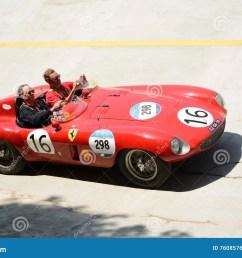 1954 ferrari 750 monza spider scaglietti at the mille miglia [ 1300 x 957 Pixel ]