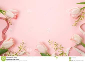 Flowers Composition Frame Made Of Pink Flowers On White Background Valentine s Day Flat Lay Top View Stock Image Image of anniversary frame: 116071699