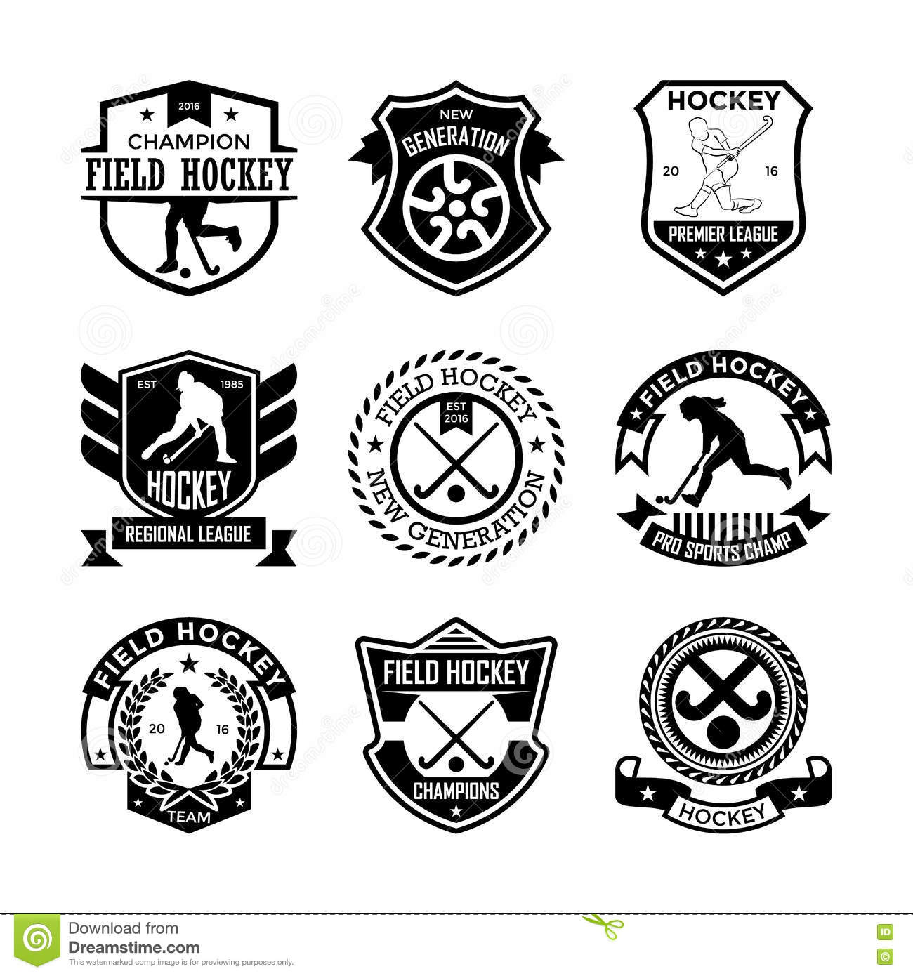 Field Hockey Vector Icons 14 Stock Illustration