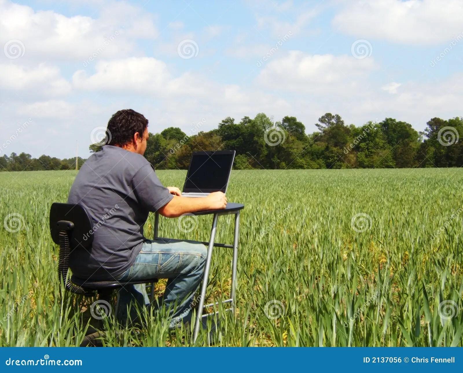 Field Work stock photo Image of sunny laptop trees