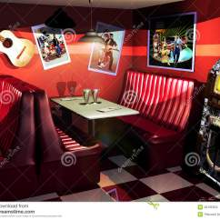 Fast Table Chair Patio Feet Caps Fifties Restaurant Stock Illustration - Image: 40135524