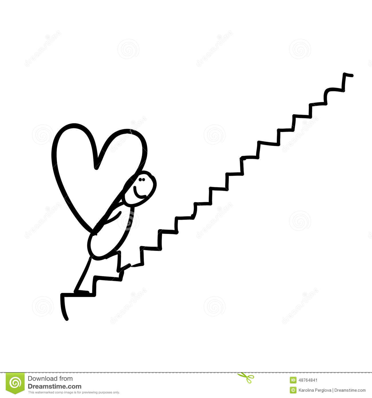 Figure Carrying Heart On Stairway Stock Illustration