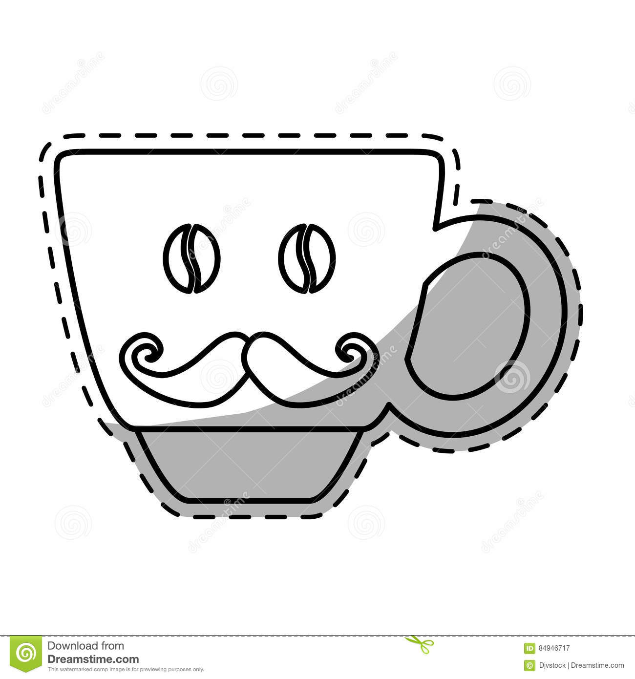 Figure Coffee Cup With Moustache Icon Stock Illustration