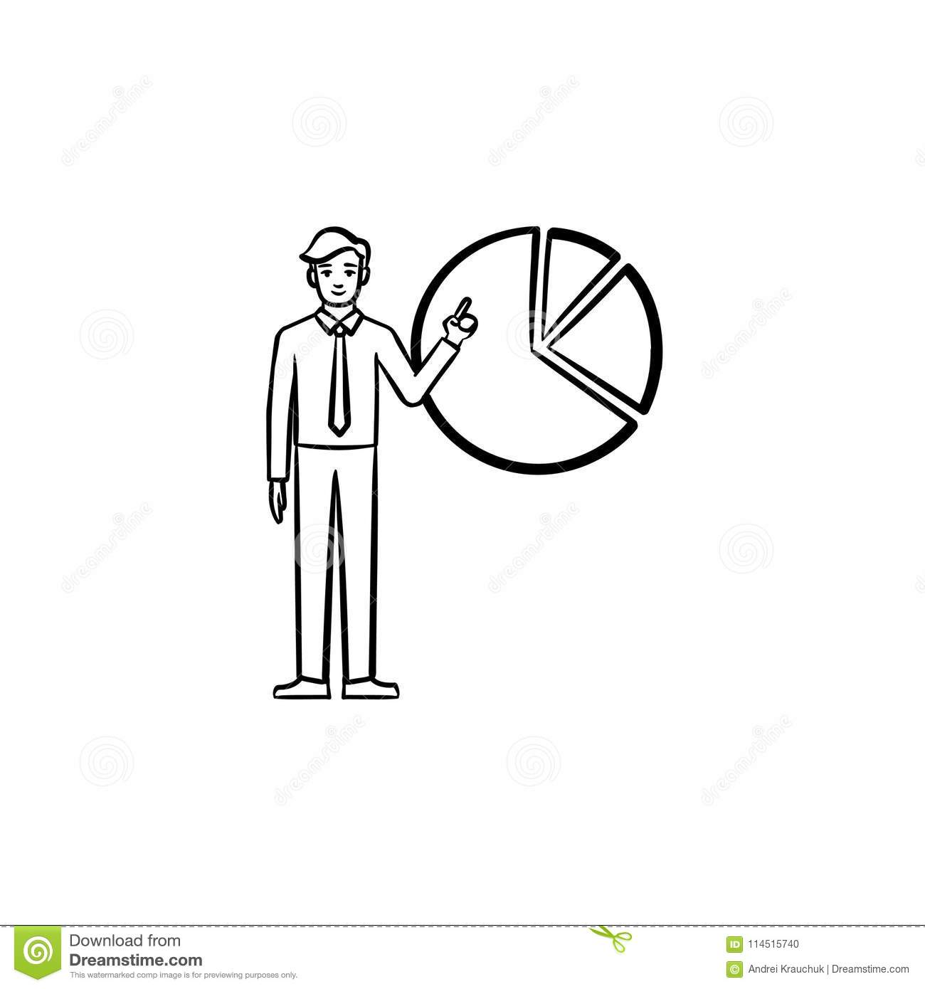 hight resolution of figure of man with diagram hand drawn sketch icon