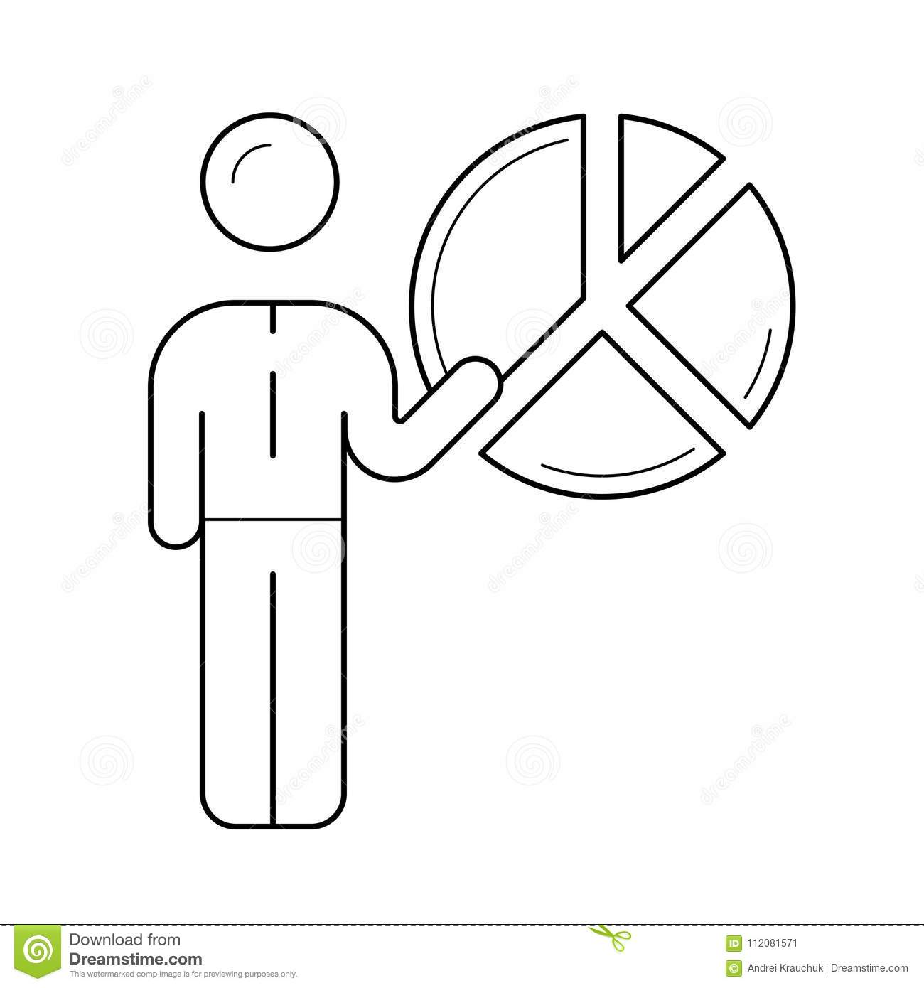 hight resolution of figure of a man with diagram vector line icon