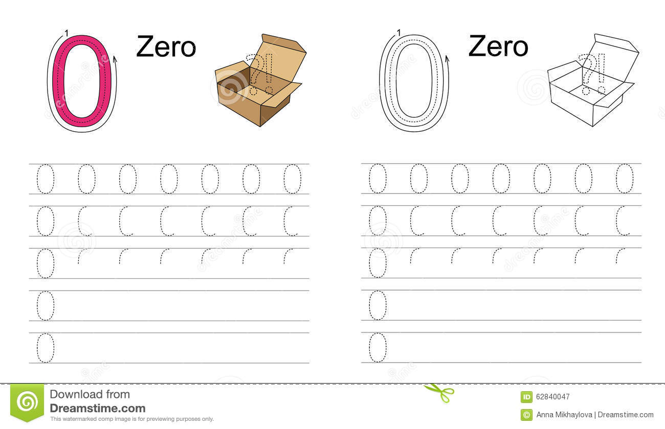 Figure Zero Zero Learn Handwriting Stock Vector