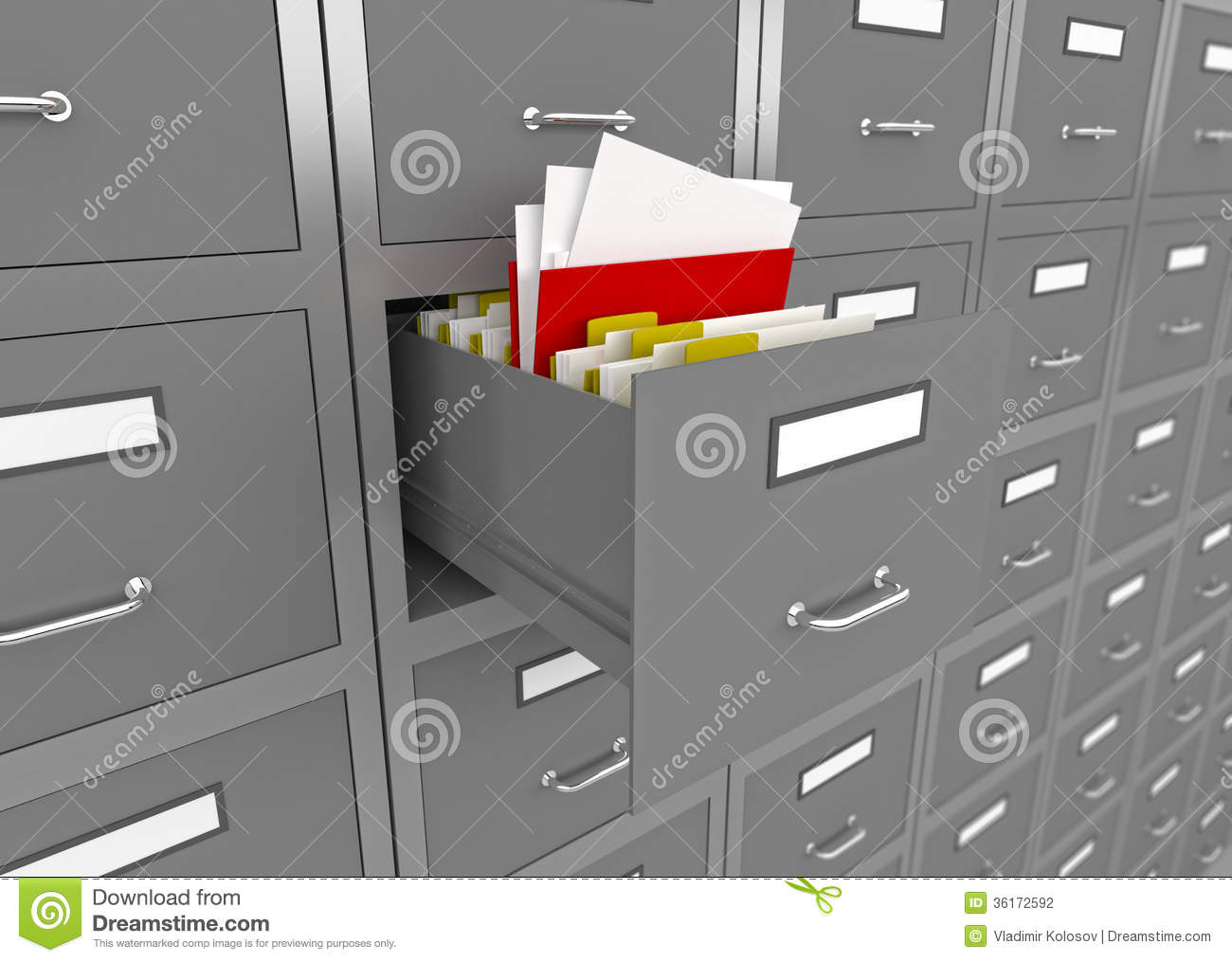 File Cabinet With An Open Drawer Stock Photography
