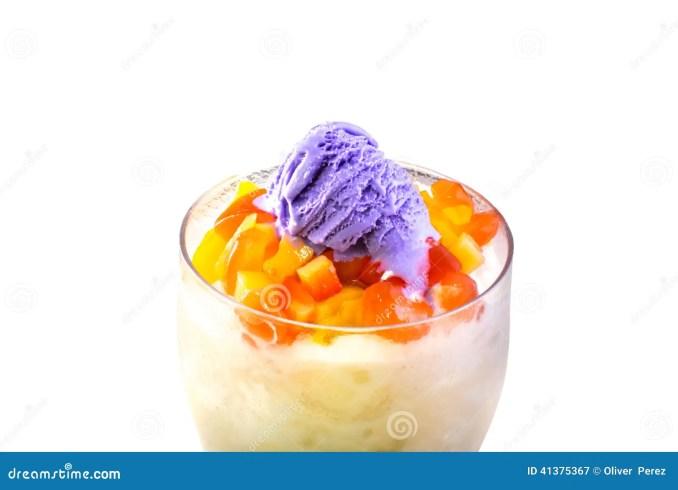 Filipino Dessert, Halo Halo With Purple Yam Ice Cream On