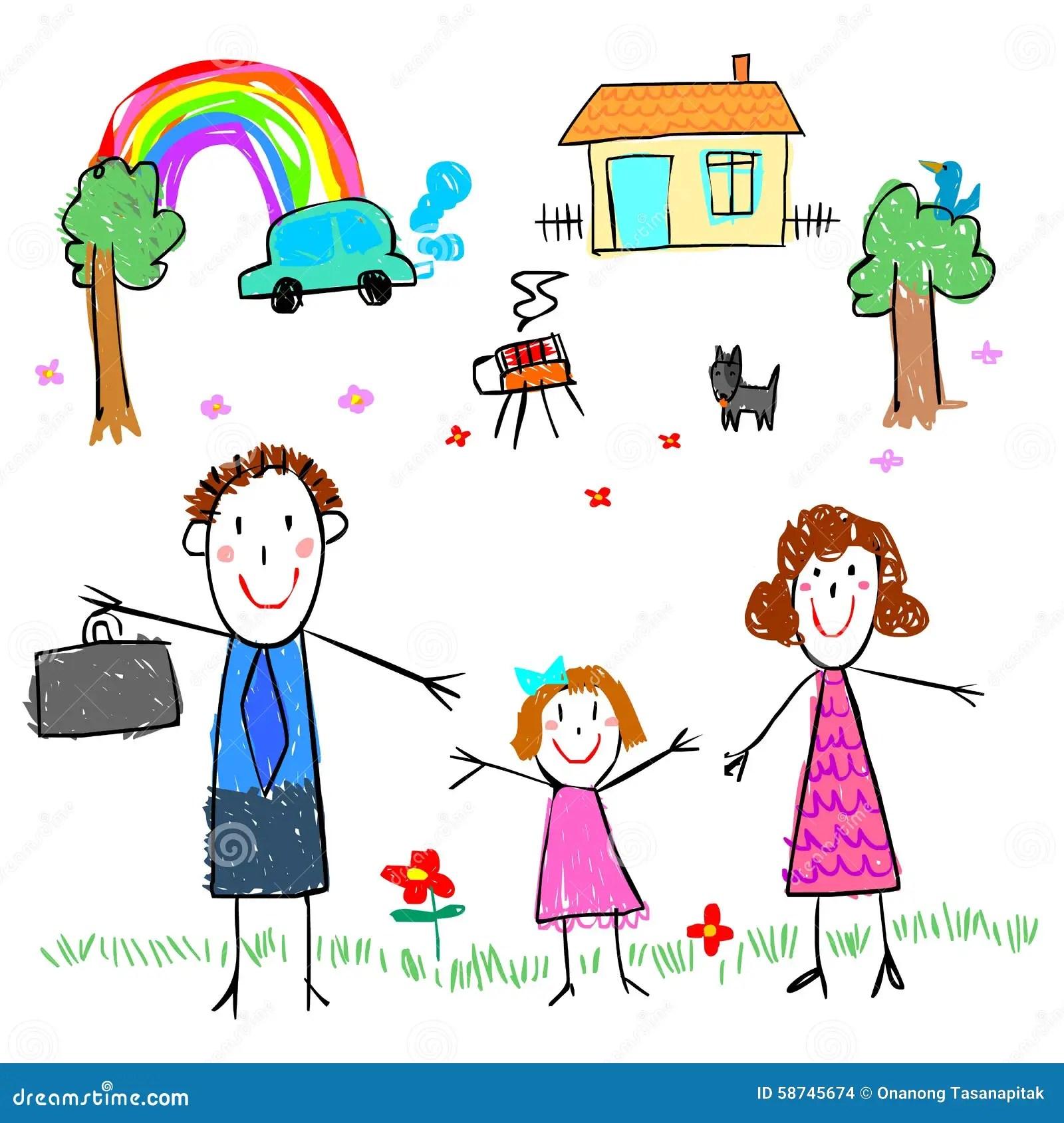 Fille Avec L Illustration De Photo De Dessin De Famille