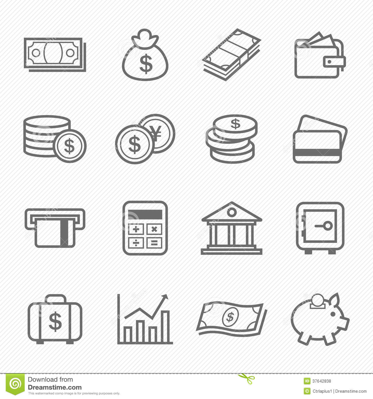 Finance And Money Outline Stroke Symbol Icons Stock Vector
