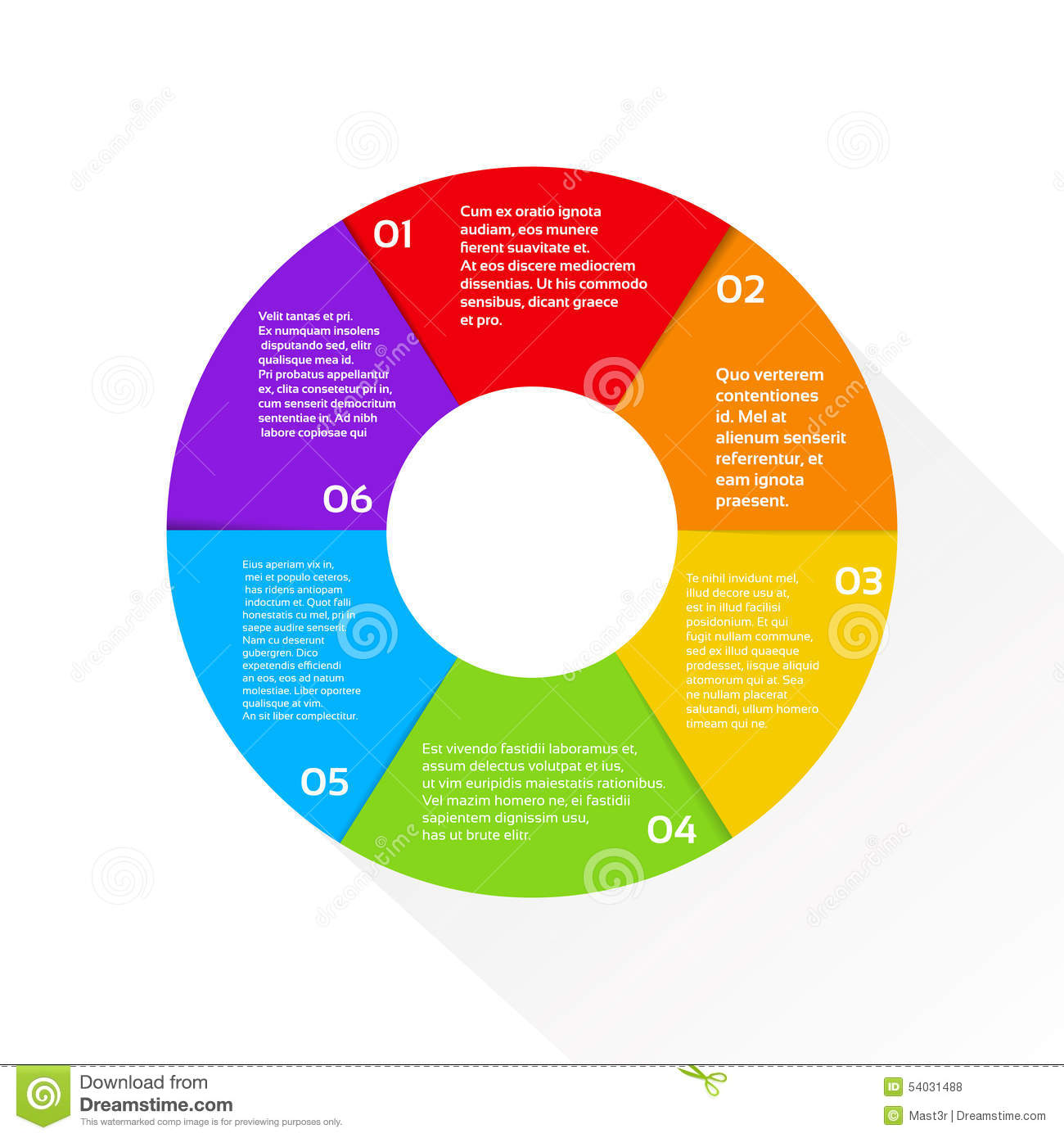 Circle Color Diagram Set In Flat Design Style Vector Stock Vector