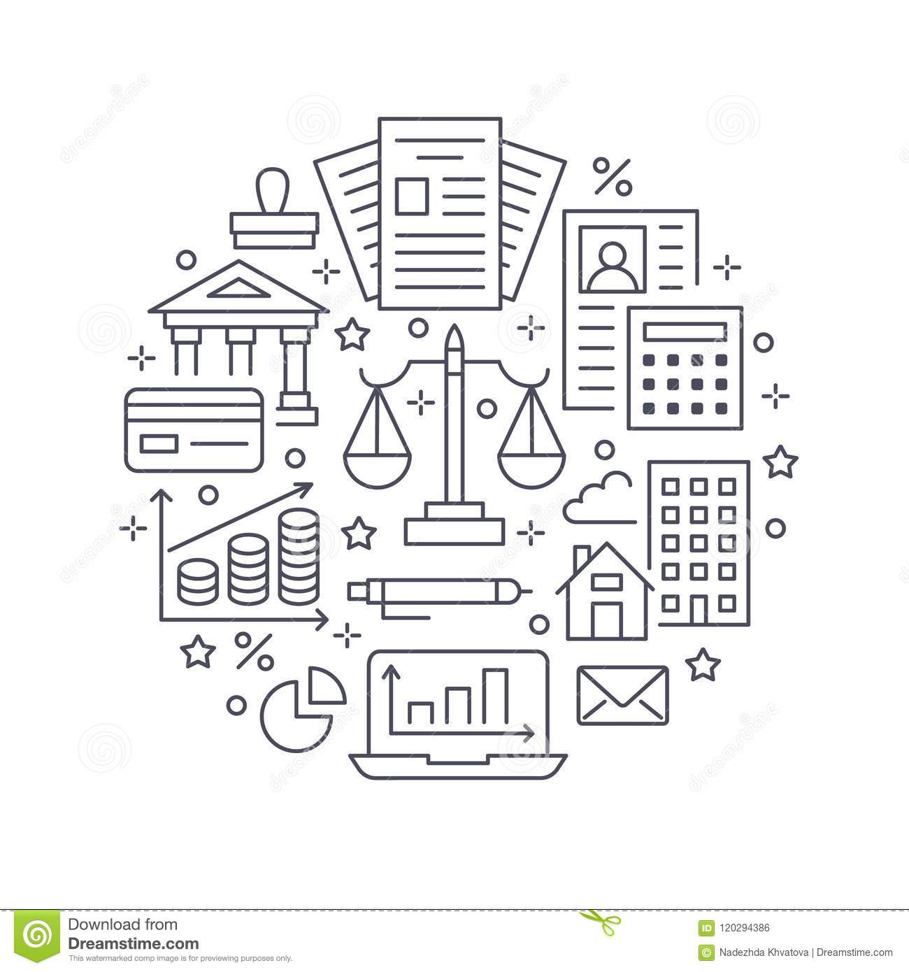 Financial Accounting Circle Poster Flat Line Icons