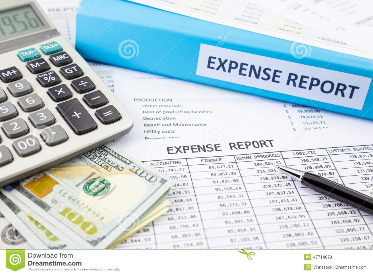 Financial Expense Report With Money Stock Photo  Image