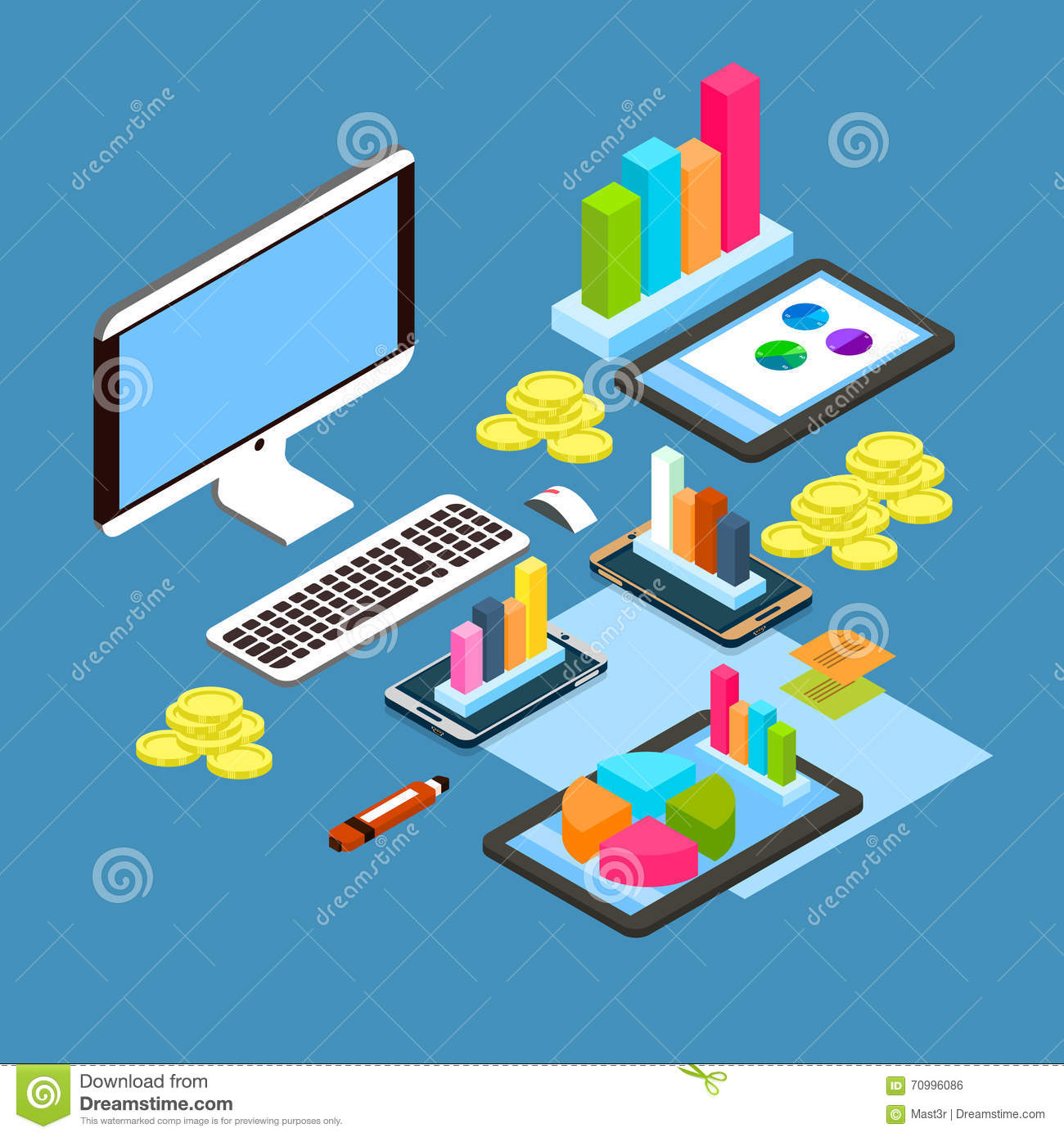 hight resolution of financial graph diagram chart desktop computer workplace finance concept 3d isometric workplace