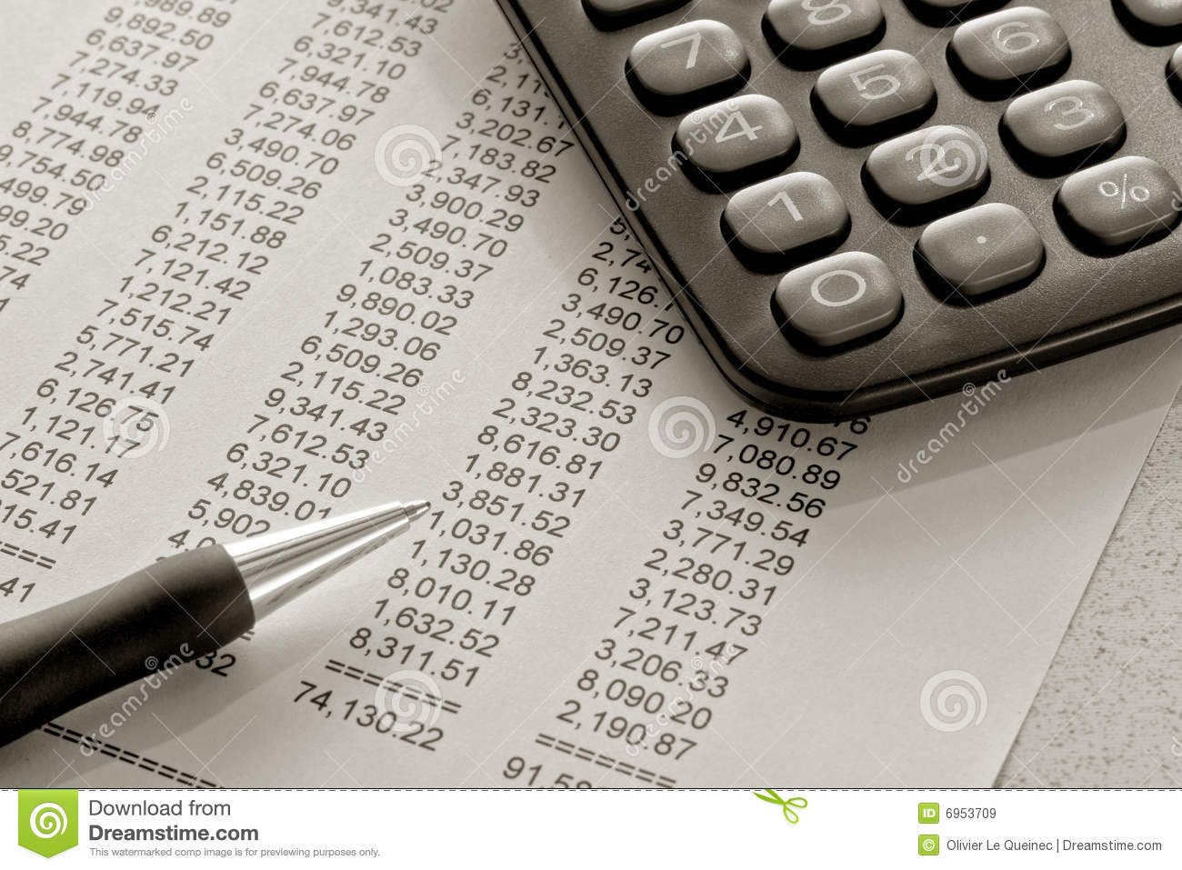 Financial Spreadsheet With Pen And Calculator Royalty Free Stock Images