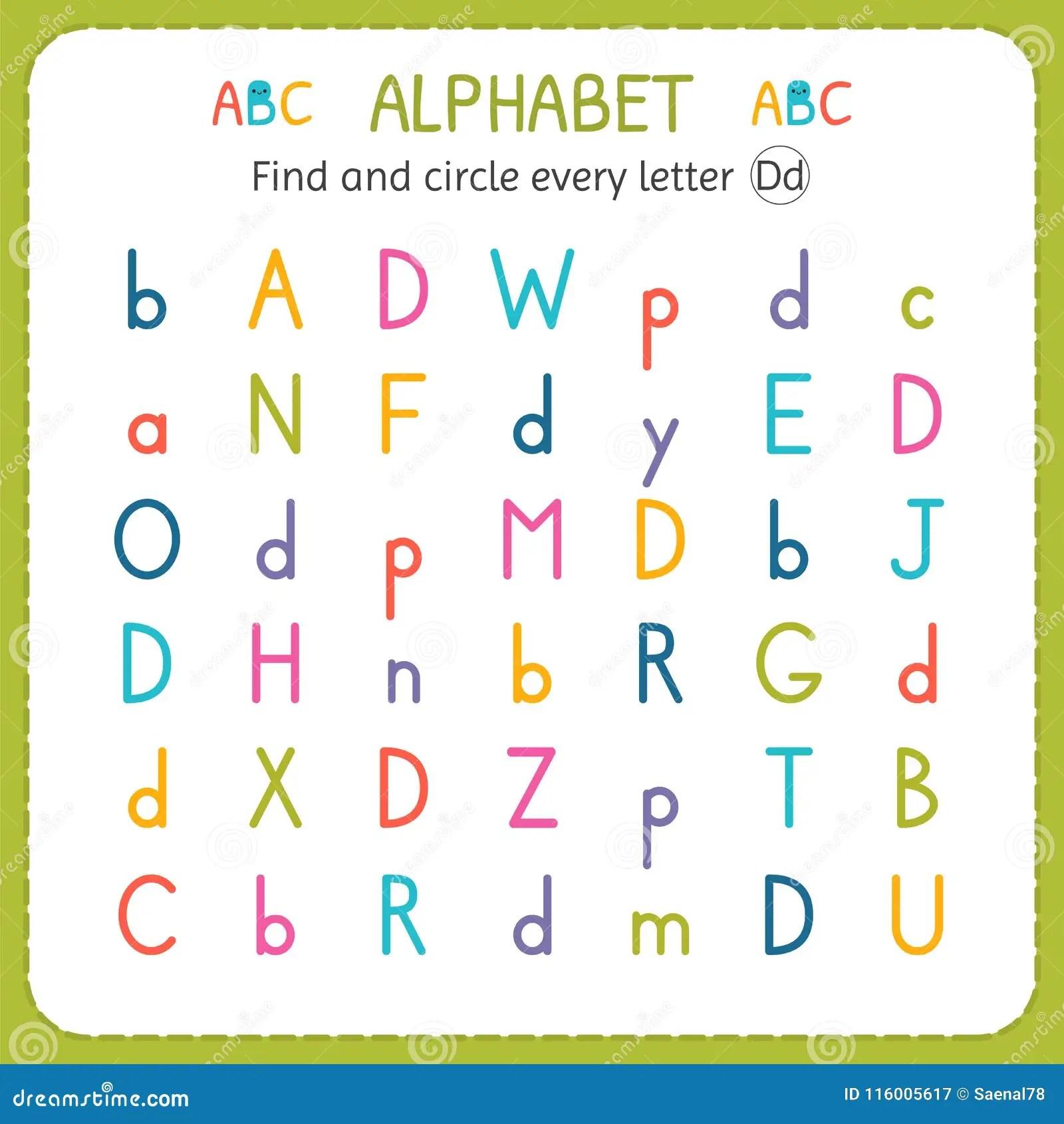 Find And Circle Every Letter D Worksheet For Kindergarten