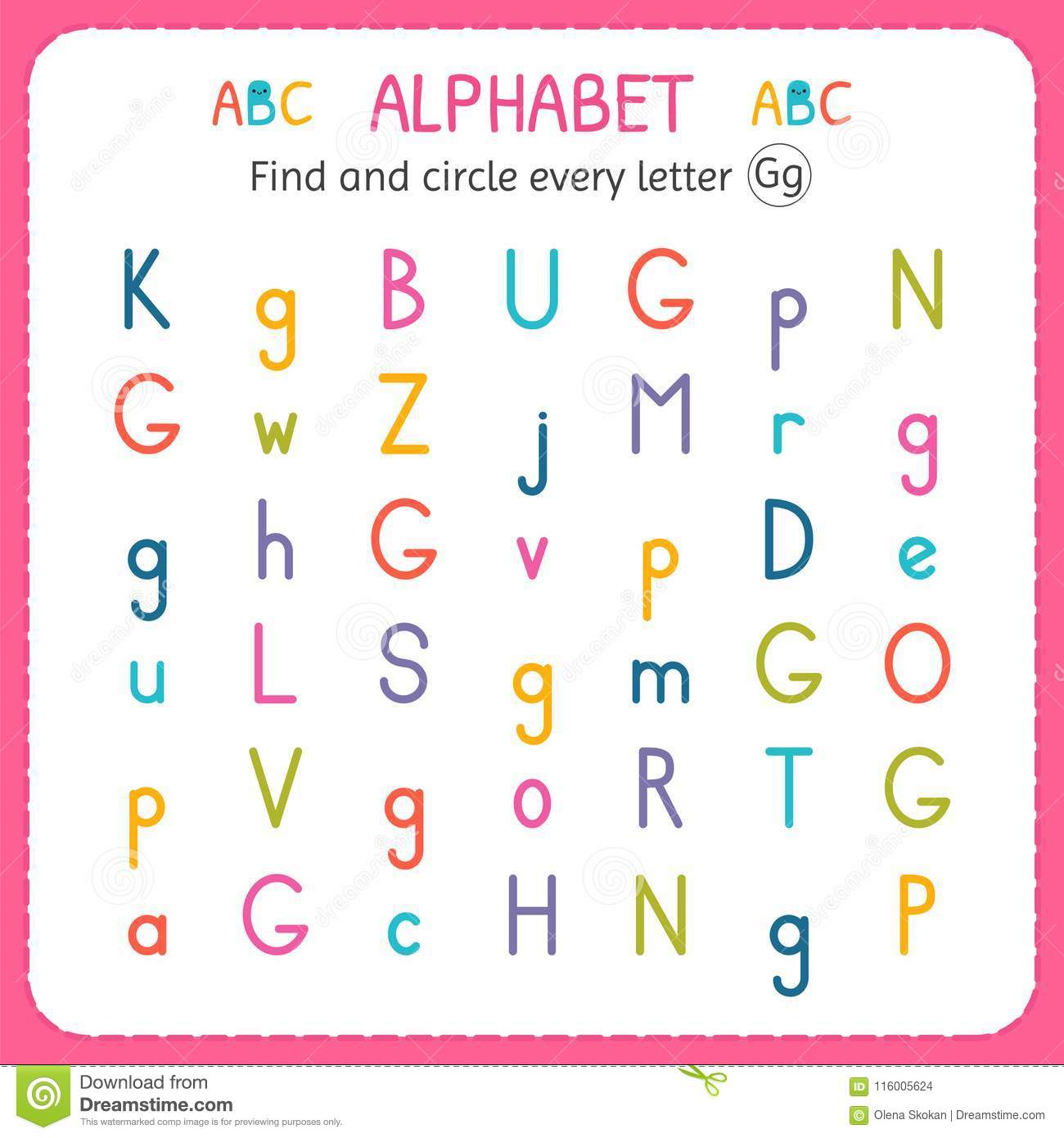 Find And Circle Every Letter G Worksheet For Kindergarten And Preschool Exercises For Children
