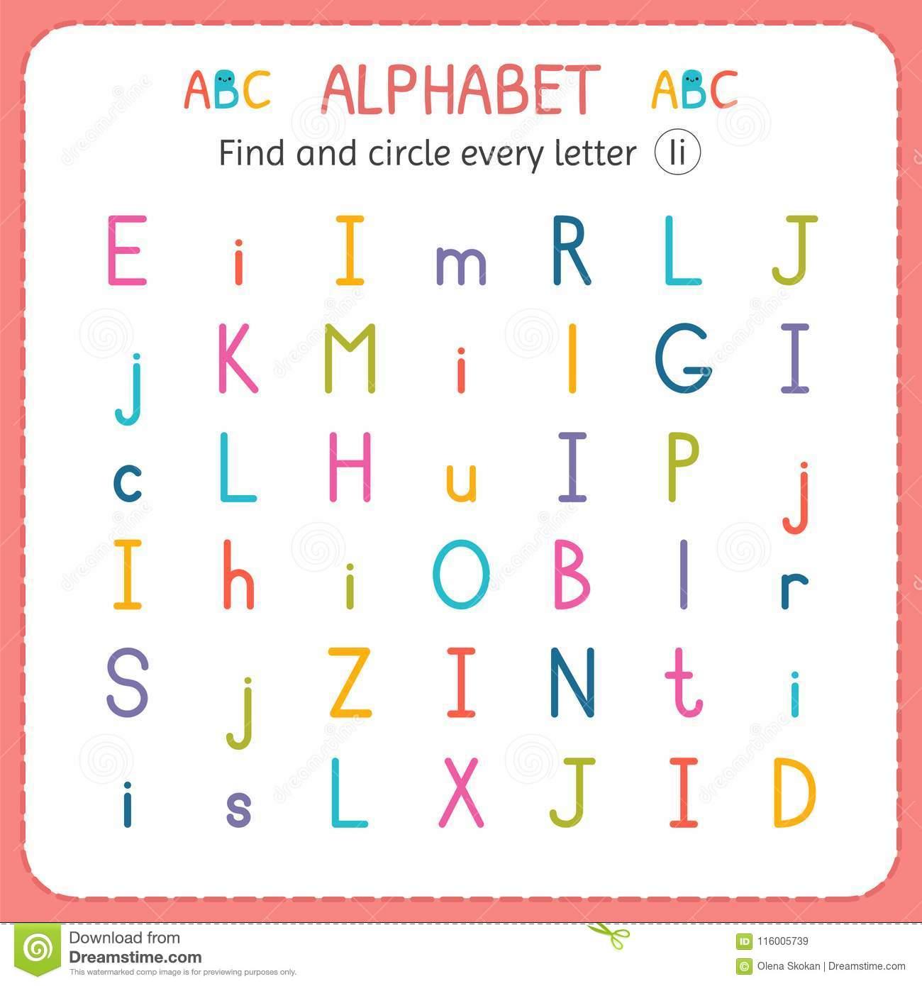 Find And Circle Every Letter I Worksheet For Kindergarten