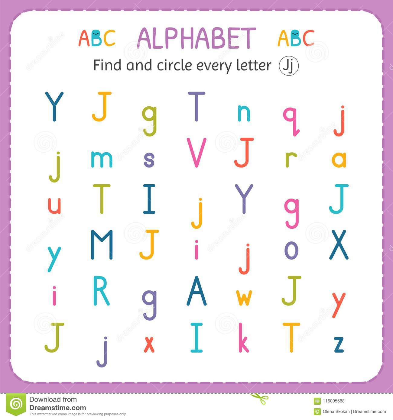 Find And Circle Every Letter J Worksheet For Kindergarten