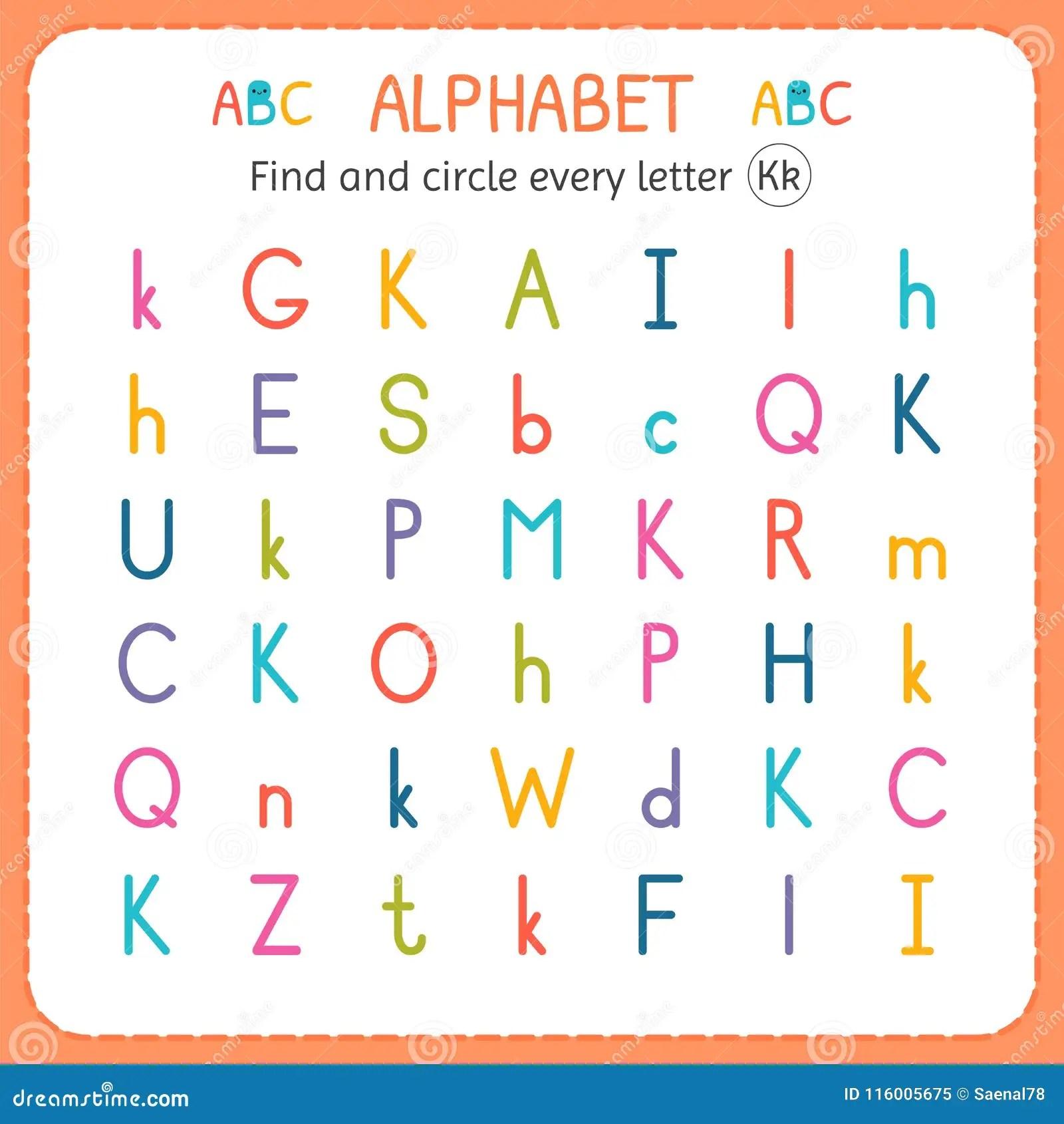 Find And Circle Every Letter K Worksheet For Kindergarten And Preschool Exercises For Children