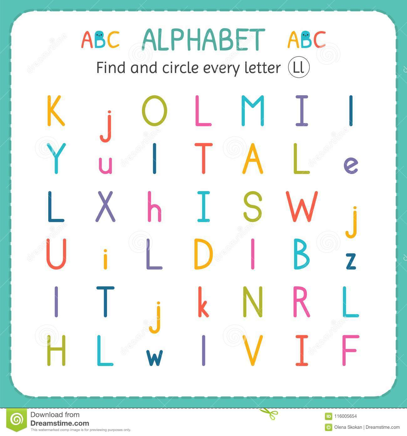 Find And Circle Every Letter L Worksheet For Kindergarten And Preschool Exercises For Children