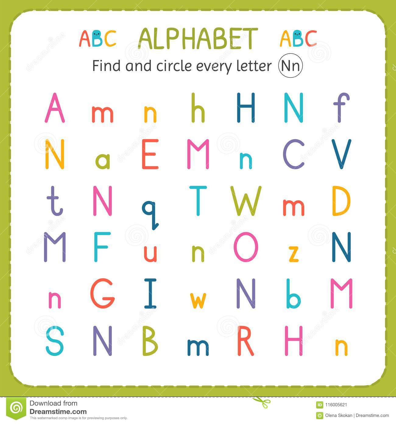 Find And Circle Every Letter N Worksheet For Kindergarten
