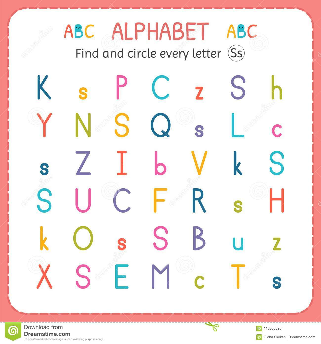 Find And Circle Every Letter S Worksheet For Kindergarten