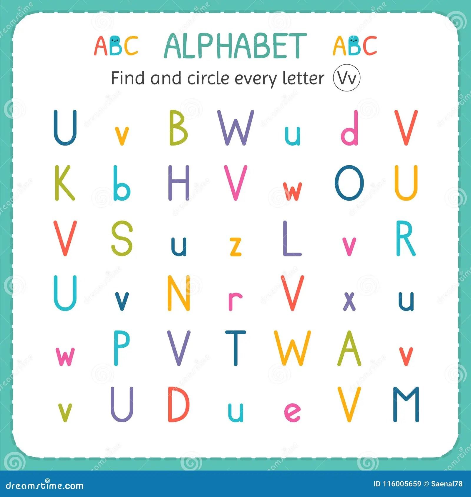 Find And Circle Every Letter V Worksheet For Kindergarten