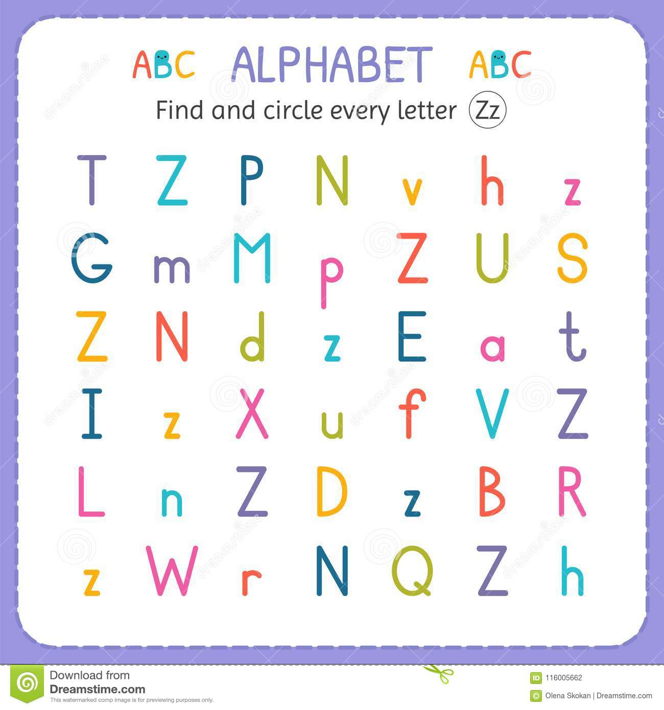 Find And Circle Every Letter Z Worksheet For Kindergarten