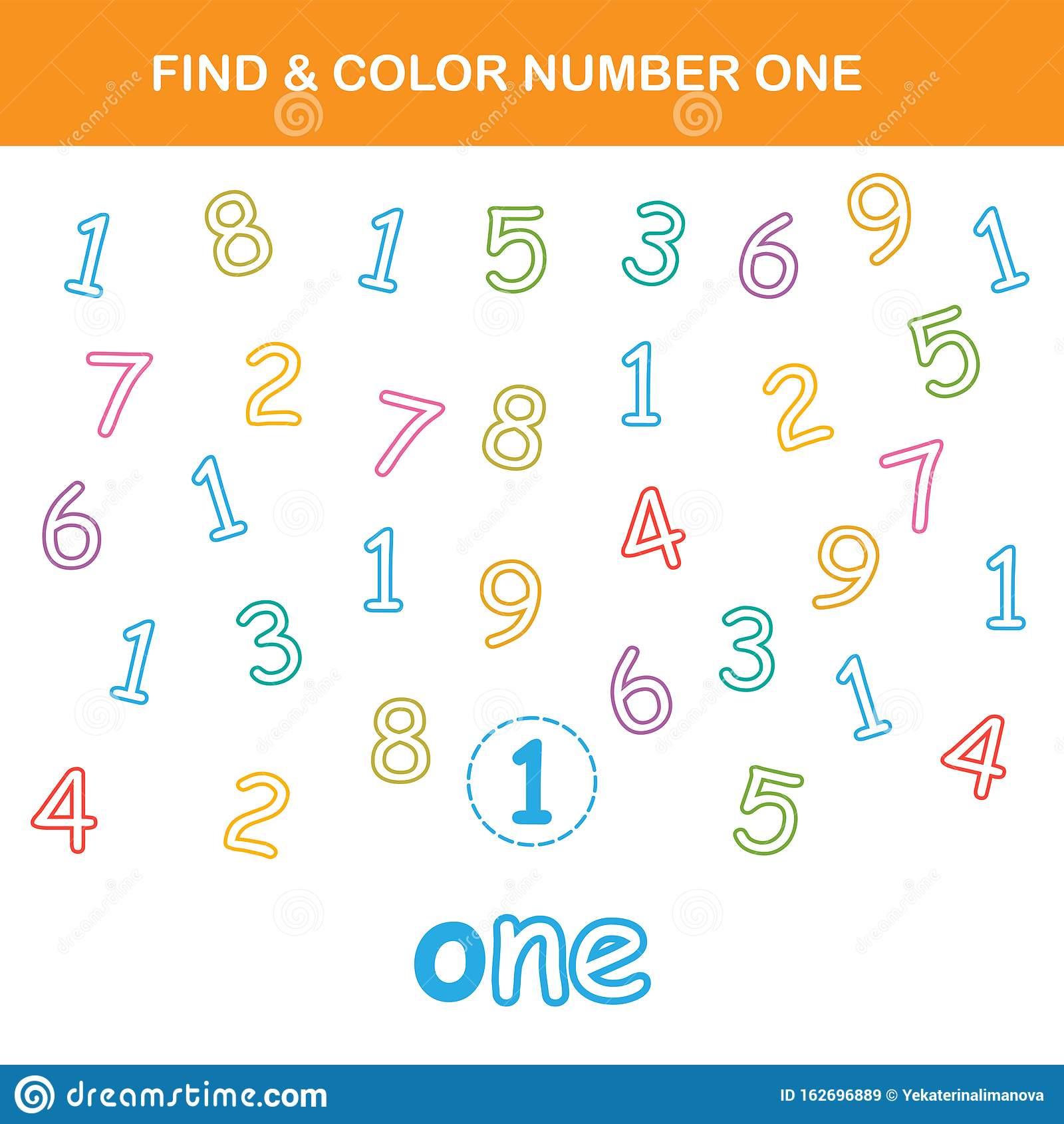 Find Amp Color Number 1 Worksheet Stock Vector