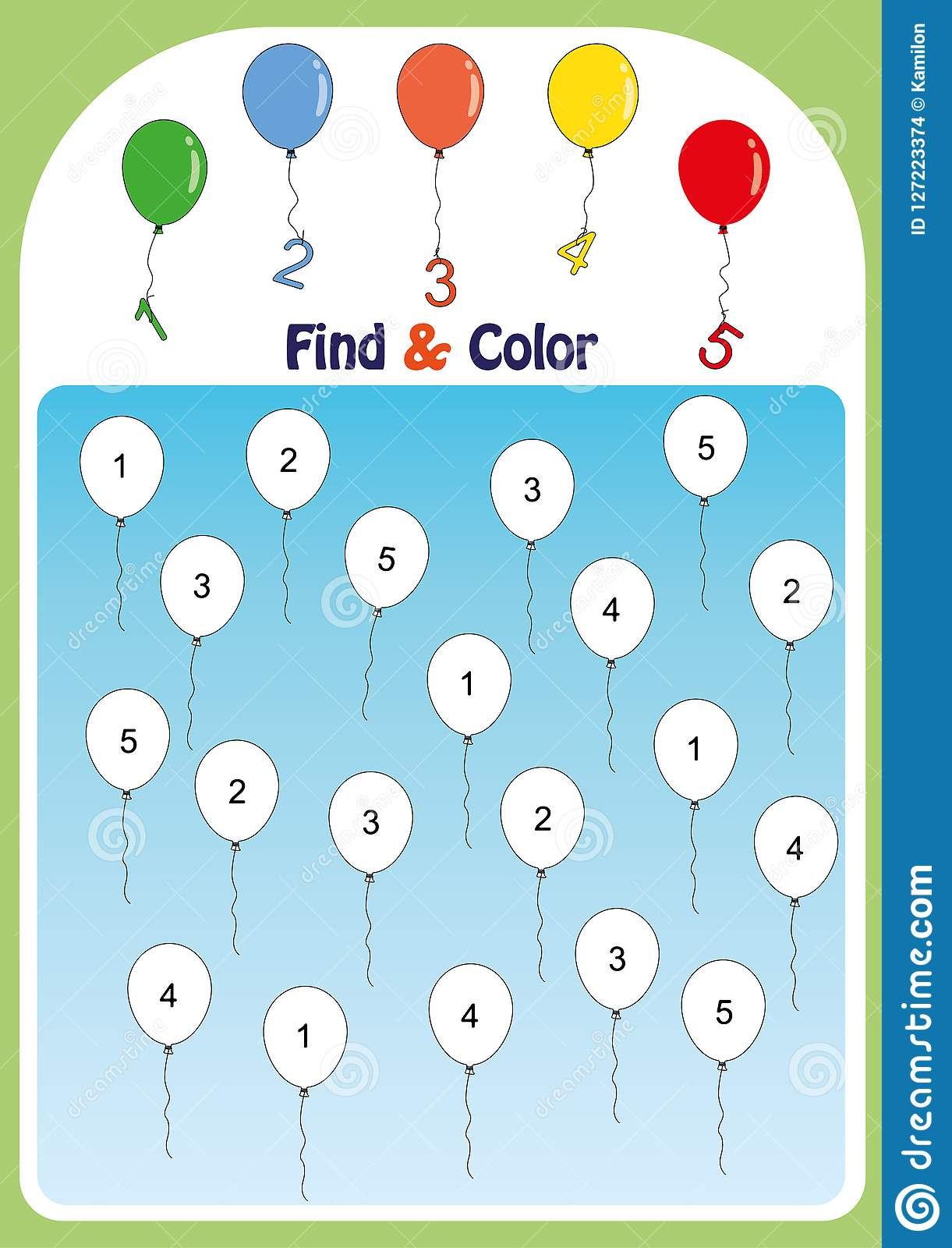 Find And Color Numbers 1 5 Math Worksheet For Kids Stock