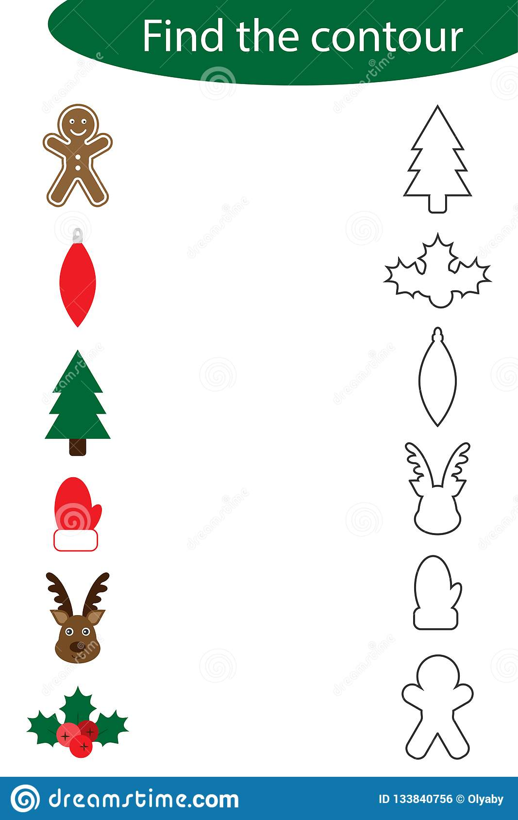 Find The Contour Game With Christmas Pictures For Children