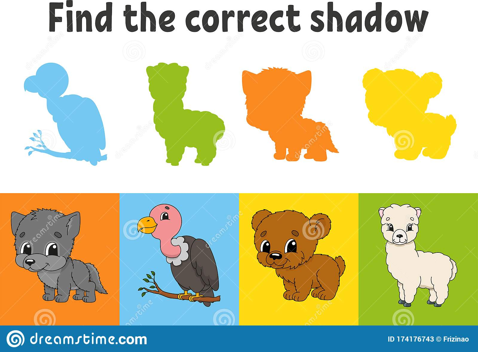 Find The Correct Shadow Animal Wolf Bear Alpaca Bird