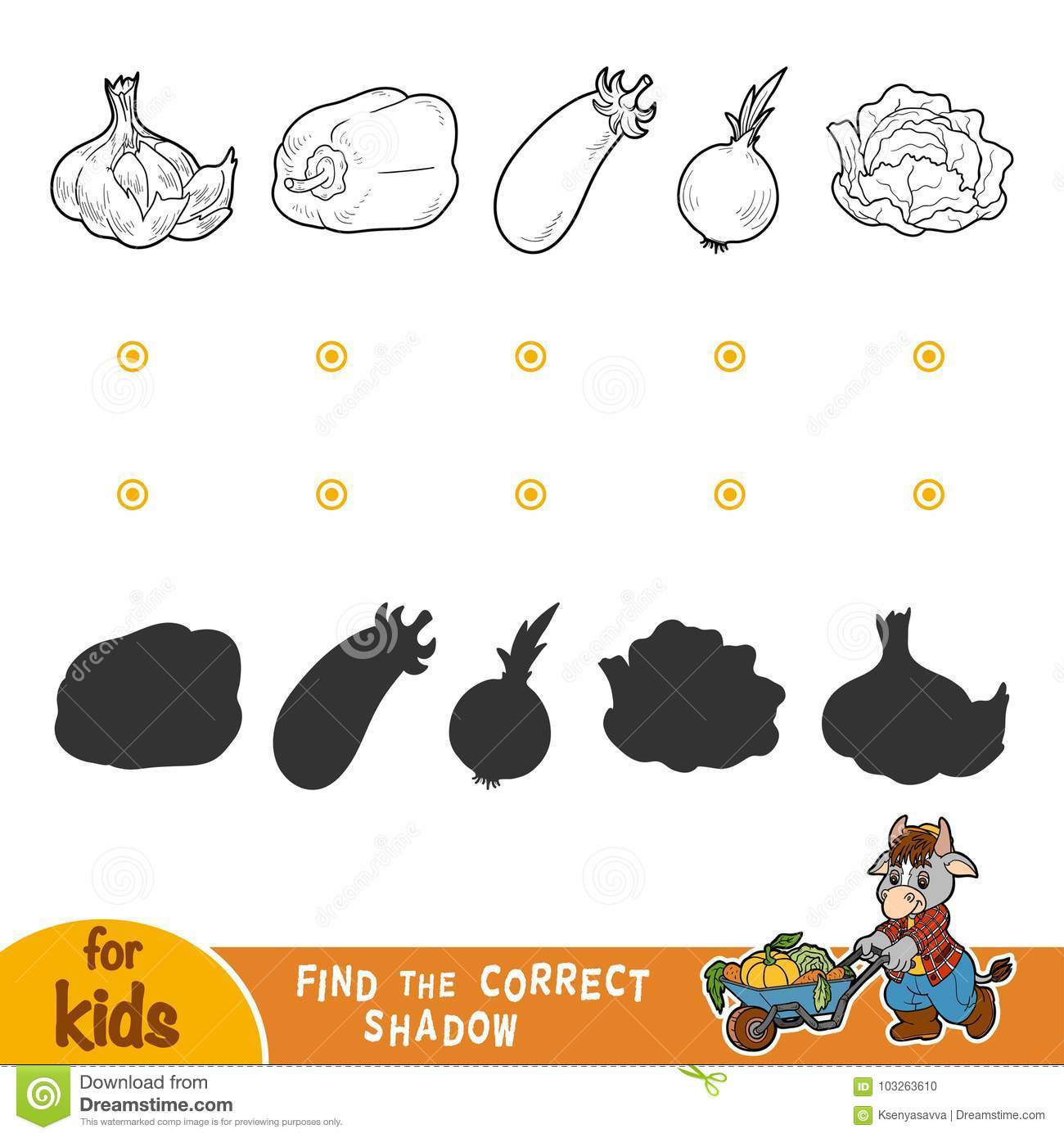 Find The Correct Shadow Black And White Vegetables Stock