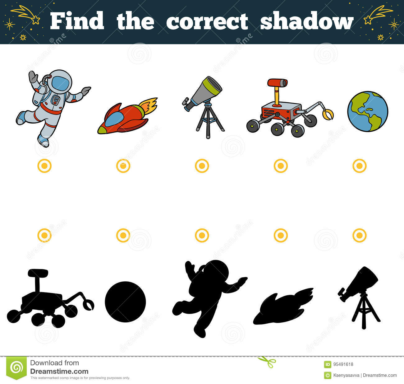 Find The Correct Shadow For Children Space Objects Stock