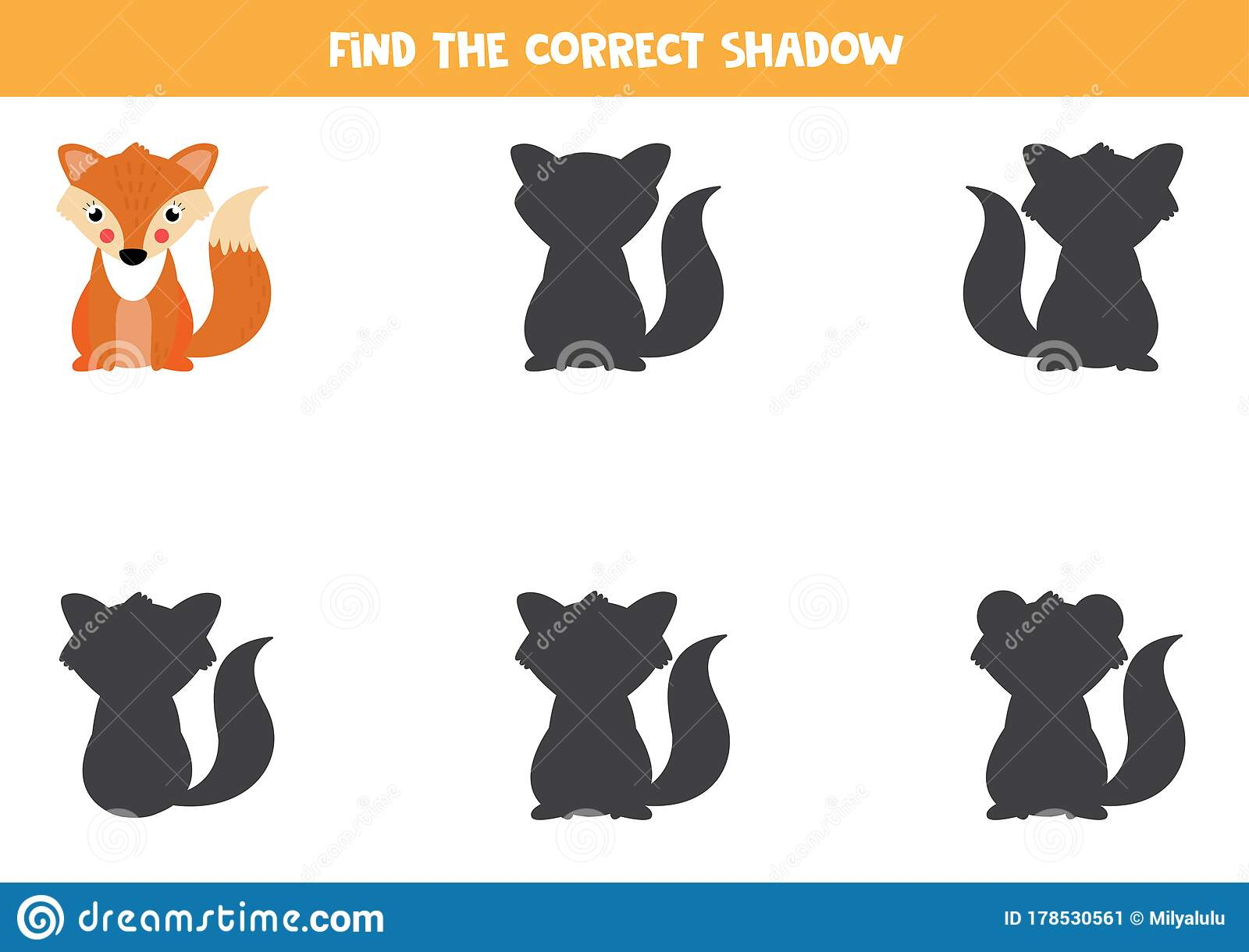 Find The Correct Shadow Of Cute Cartoon Fox Worksheet For